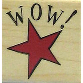 Wow Star Rubber Stamp